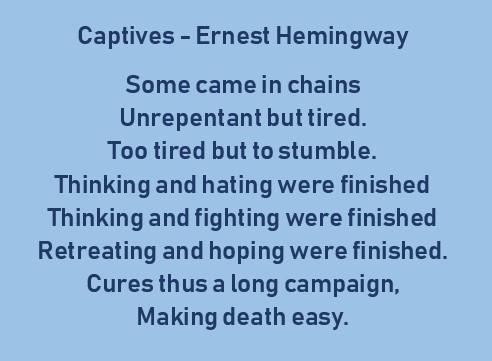 Poems Of Ernest Hemingway Poemas En Inglés