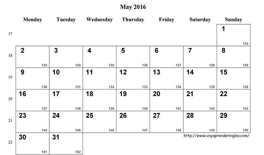May 2016 - Printable Calendar - Calendario Mayo