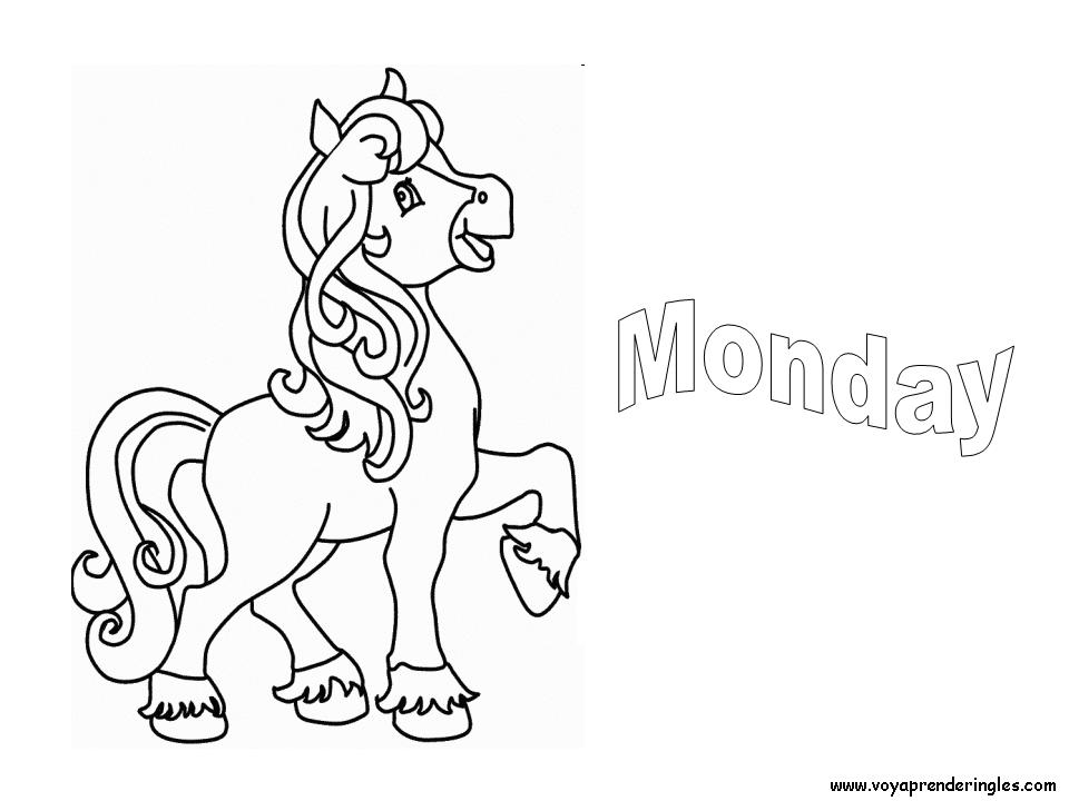 Monday - Dibujos días de la Semana para Colorear en Inglés