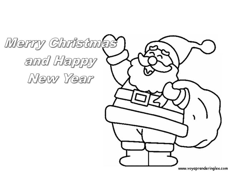 Dibujos En Ingles De Navidad.Merry Christmas And Happy New Year