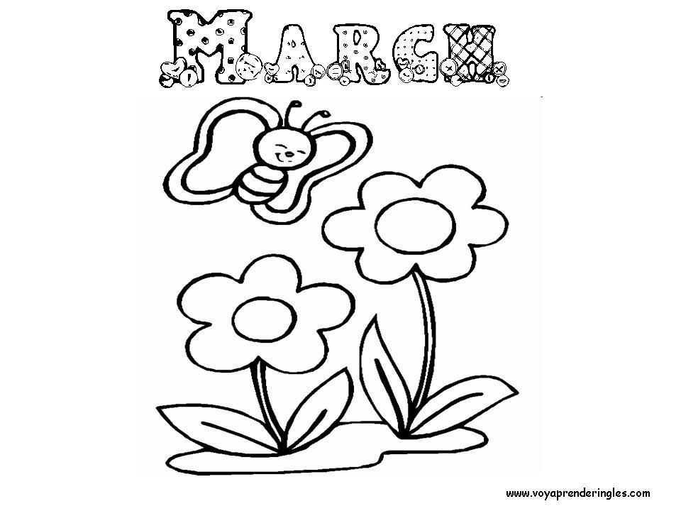 March - Dibujos Meses del año para Colorear en Inglés