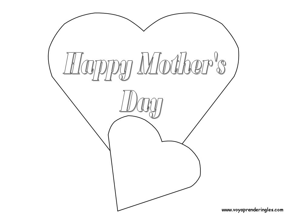 Happy Mother's Day - Hearts - Dibujos día Madre en Inglés