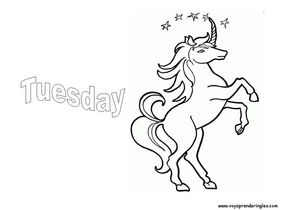 Tuesday - Dibujos días de la Semana para Colorear en Inglés