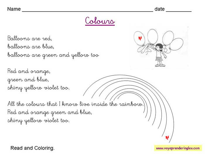 Worksheets The Colors 04 - Fichas en Inglés los Colores