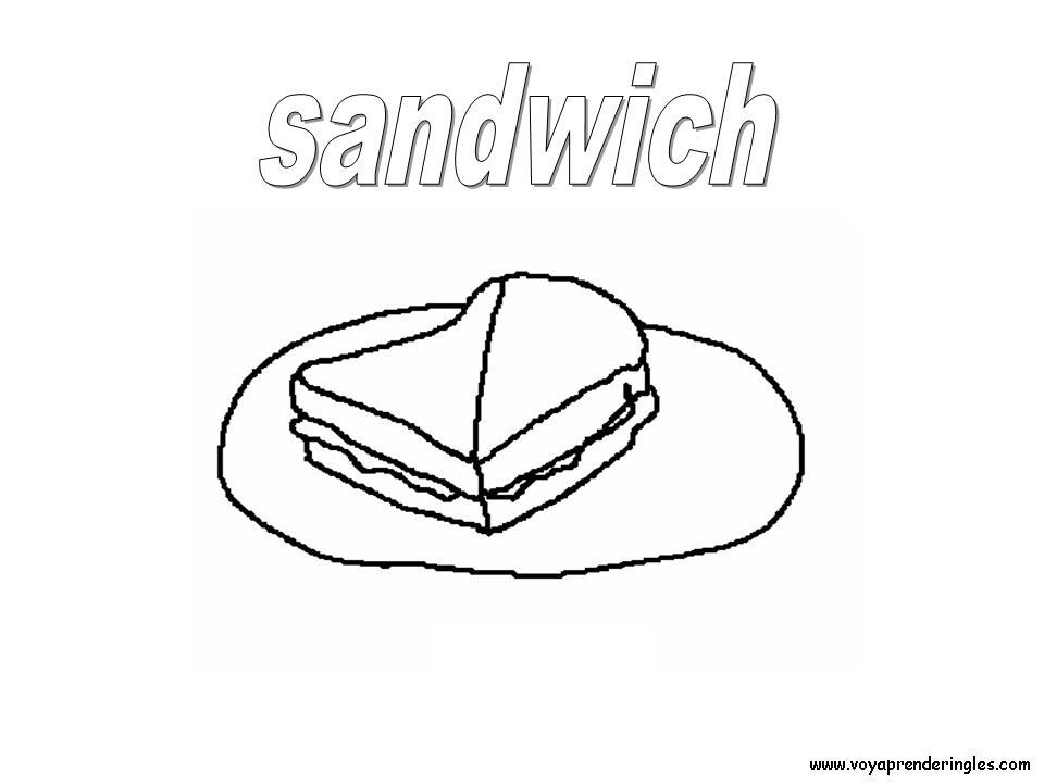 Sandwich Foods Dibujos Alimentos Colorear En Inglés