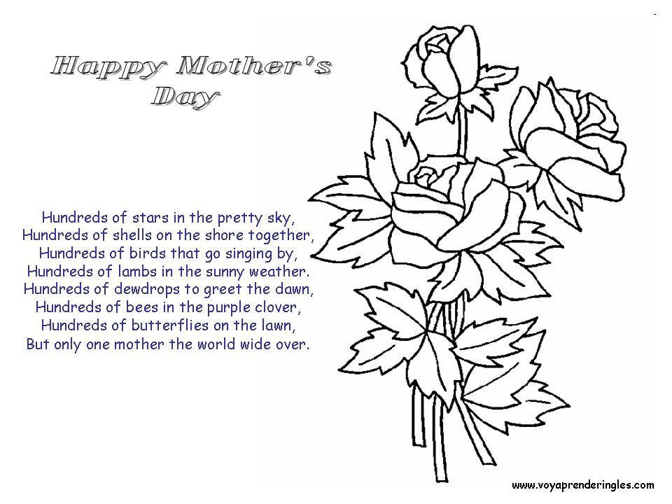 Happy Mothers Day Roses Dibujos Día Madre En Inglés