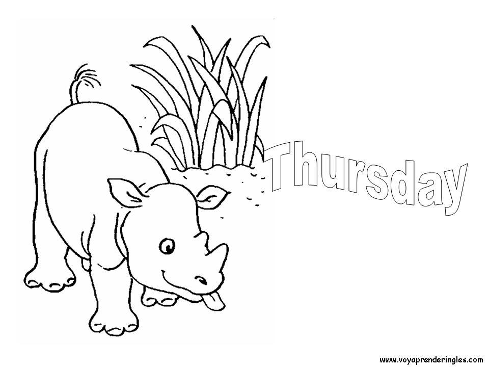 Thursday - Dibujos días de la Semana para Colorear en Inglés