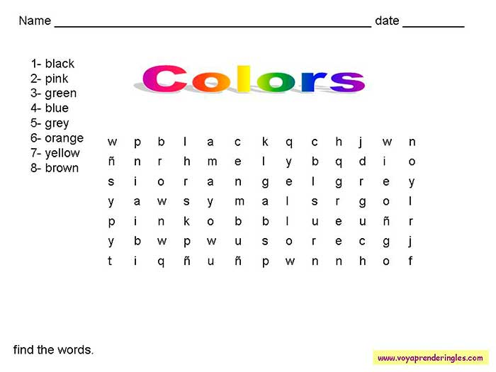 Worksheets The Colors 06 - Fichas en Inglés los Colores