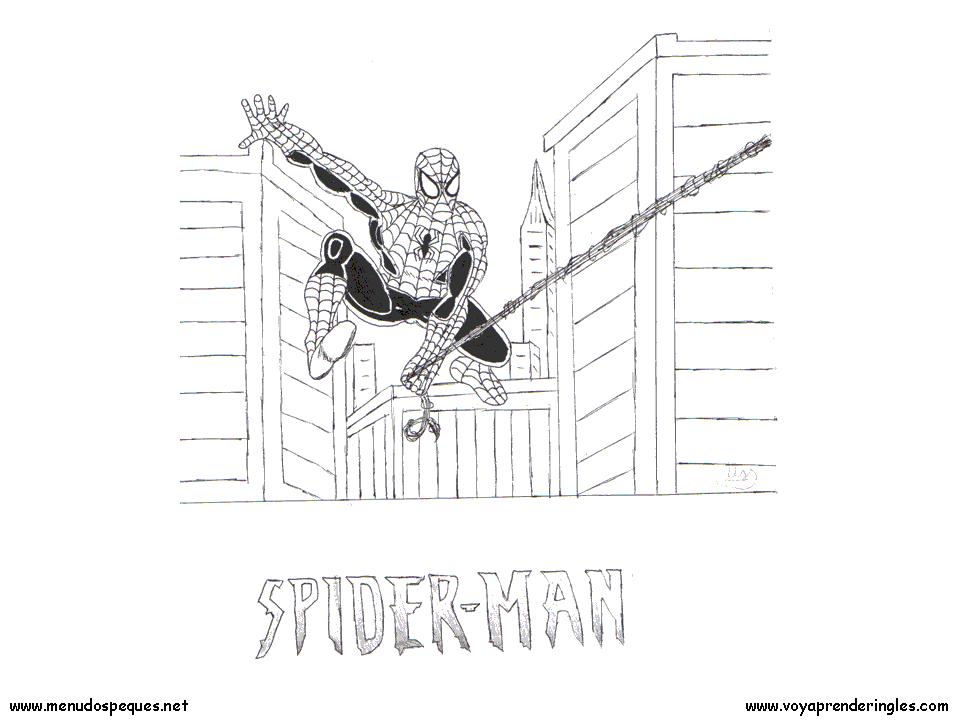Spiderman 06 - Dibujos Spiderman para Colorear en Inglés