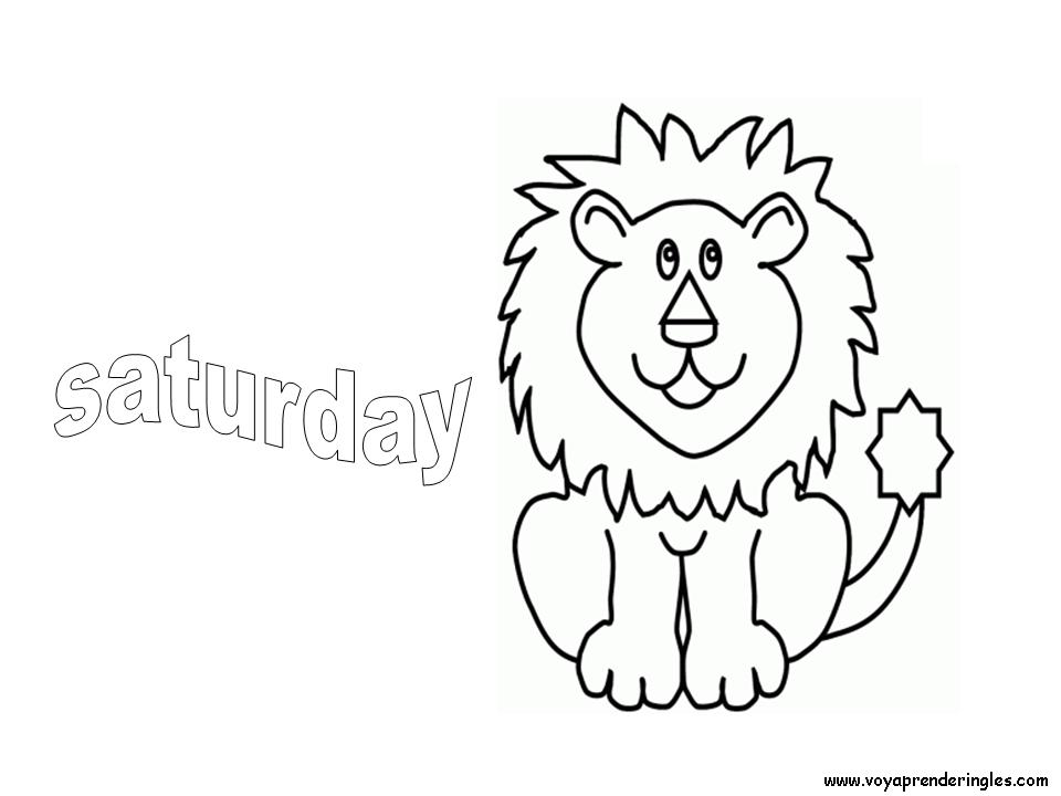 Saturday - Dibujos días de la Semana para Colorear en Inglés