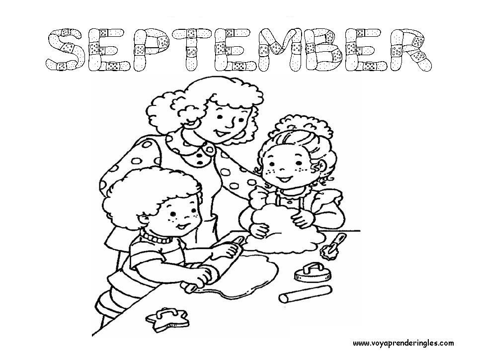 September - Dibujos Meses del año para Colorear en Inglés