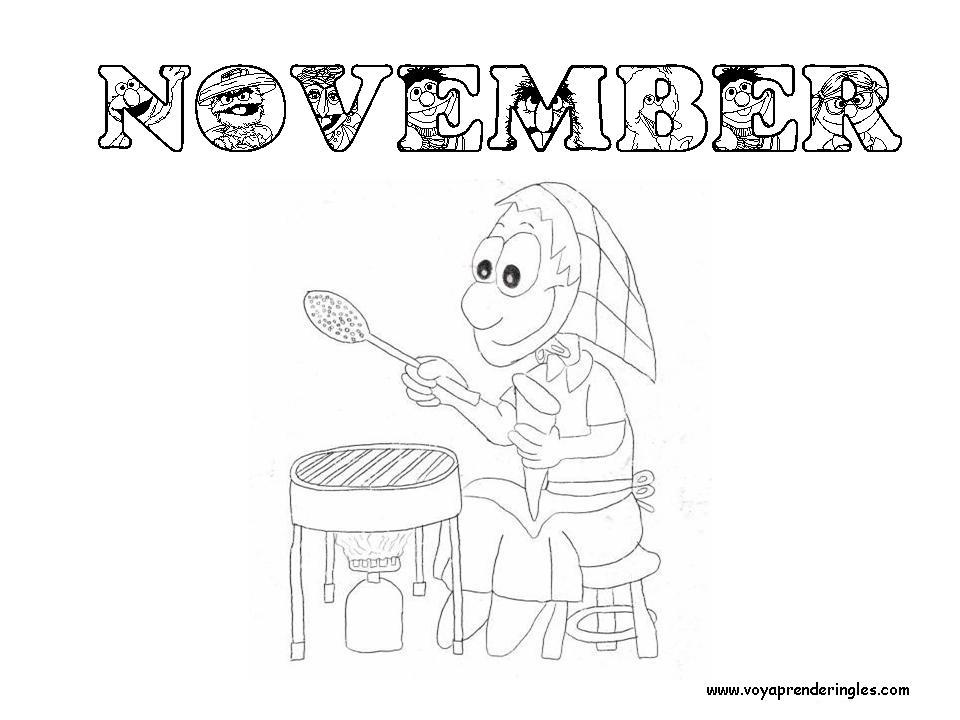 November - Dibujos Meses del año para Colorear en Inglés