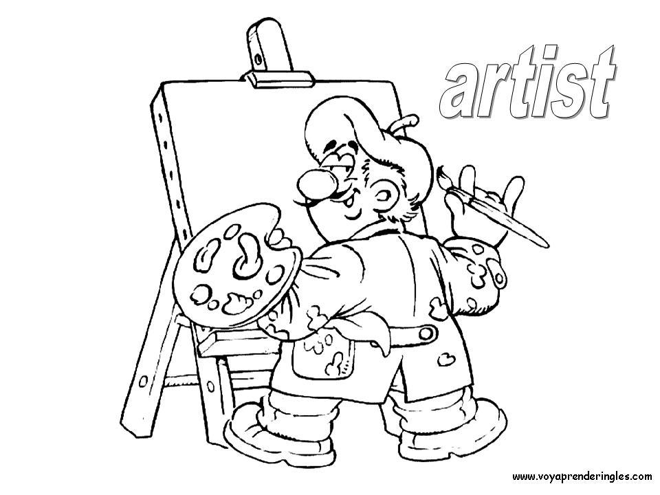 Artist - Dibujos Profesiones para Colorear en Inglés