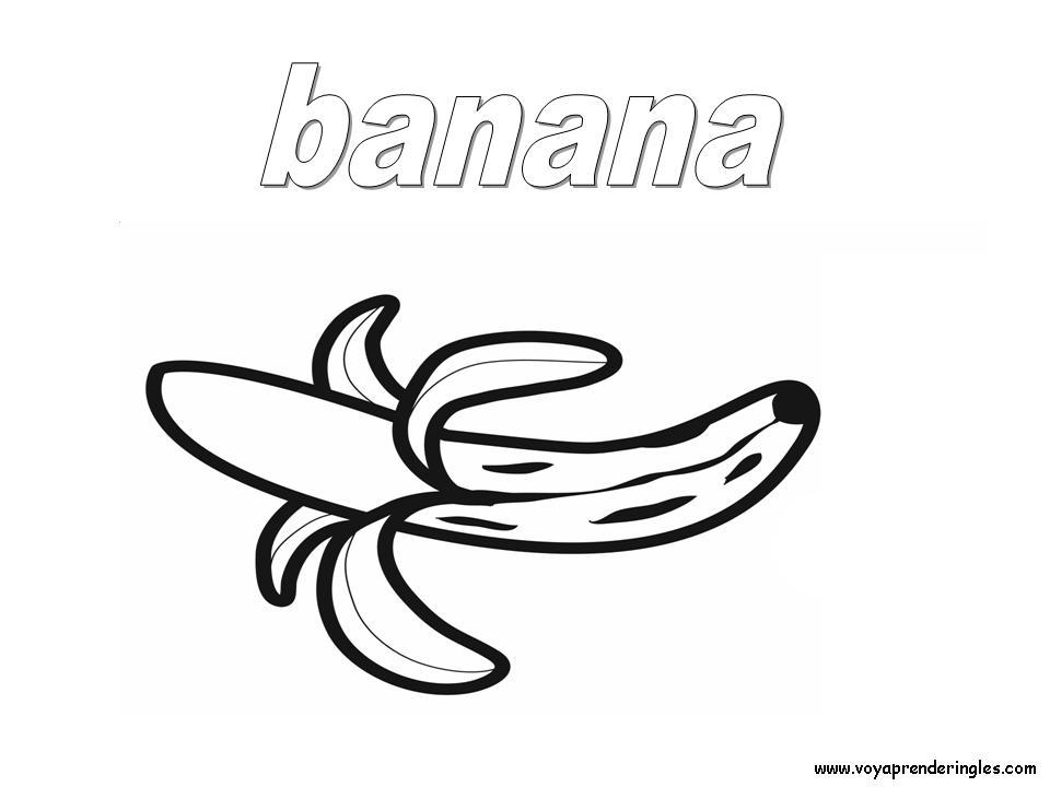 Banana - Foods - Dibujos Alimentos Colorear en Inglés
