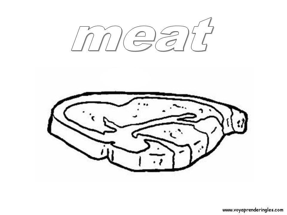 Meat Foods Dibujos Alimentos Colorear En Inglés