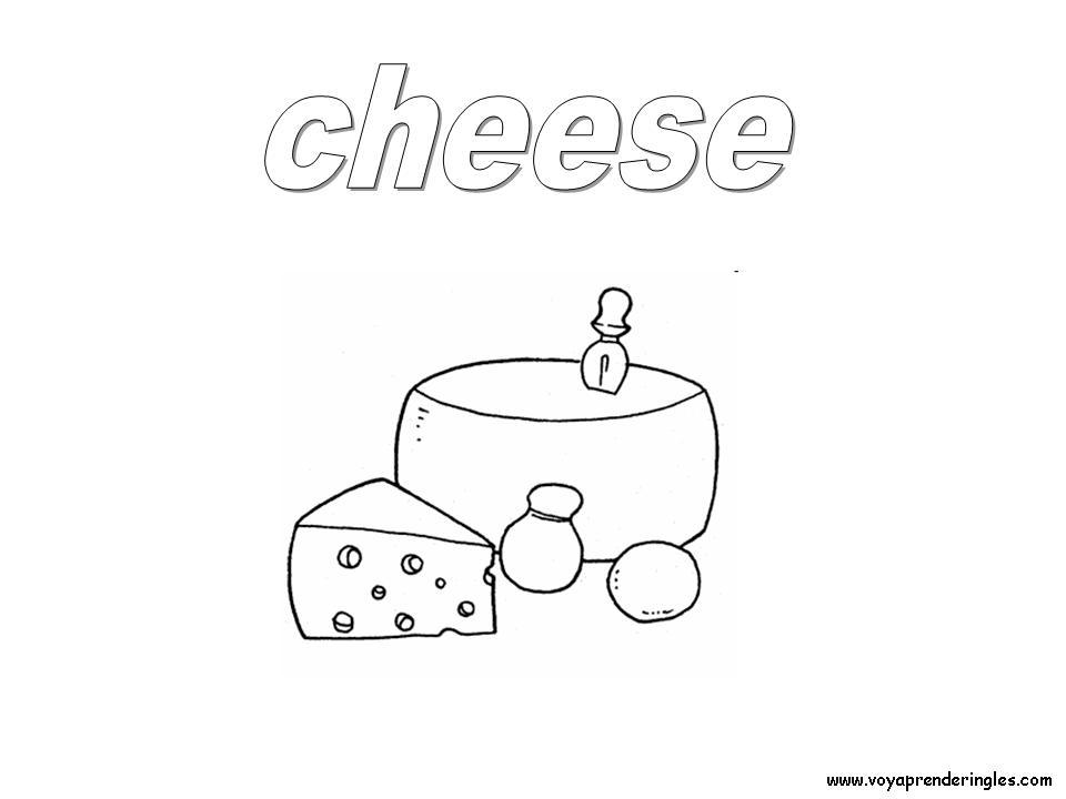 Cheese Foods Dibujos Alimentos Colorear En Inglés