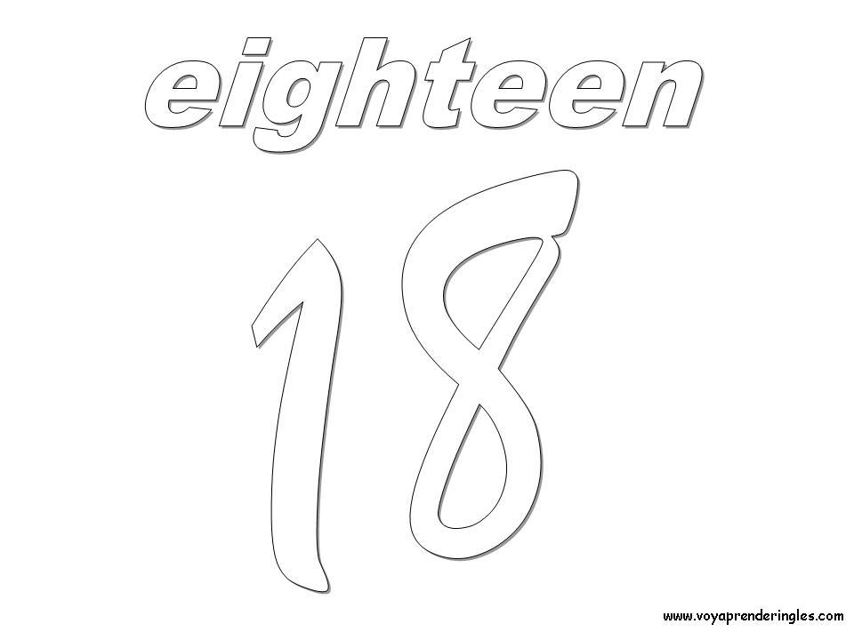 Eighteen Dibujos Los Números En Inglés