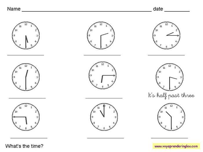 7ad81b07ed67 Worksheets The Clock - Fichas en Inglés el Reloj | Fichas Infantiles ...