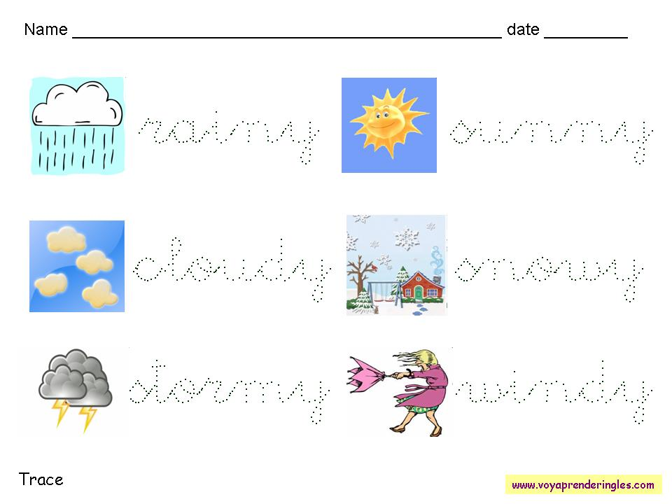 Worksheets Weather 02 - Fichas en Inglés el Clima