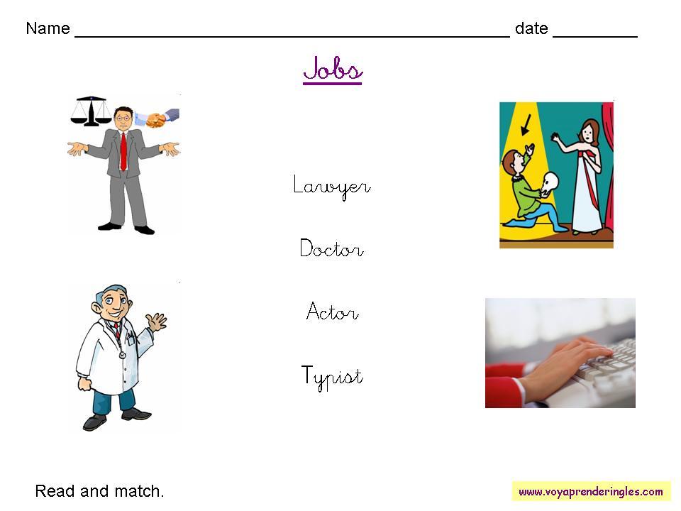 Worksheets Jobs 02 - Fichas en Inglés Trabajos