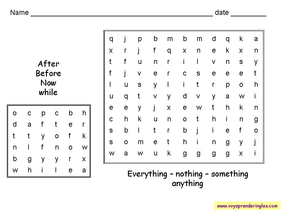 Worksheets Wordsearches 02 - Sopas de Letras en Inglés