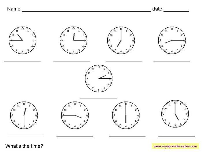 0eea20ec9aae Worksheets The Clock 03 - Fichas Infantiles en Inglés el Reloj