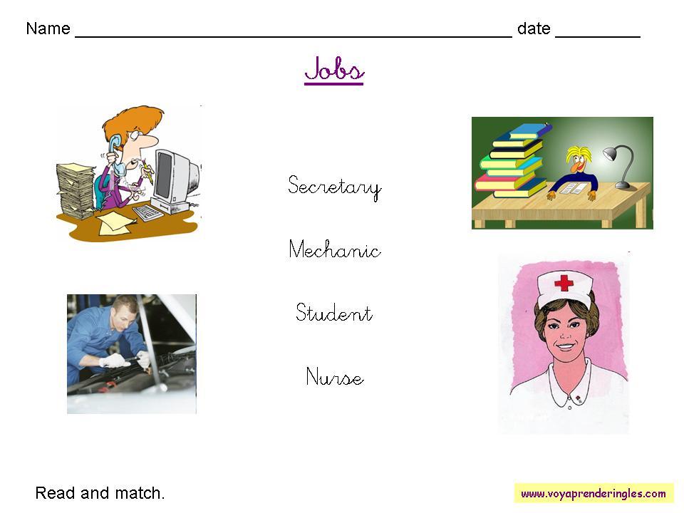 Worksheets Jobs 04 - Fichas en Inglés Trabajos