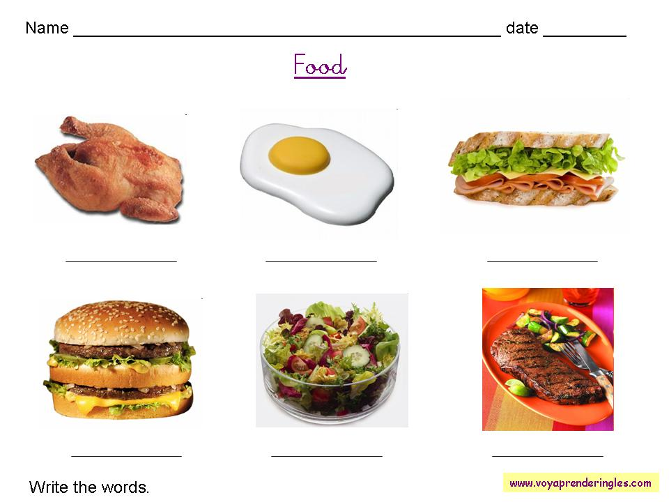 Worksheets Food 05 - Fichas en Inglés Alimentos