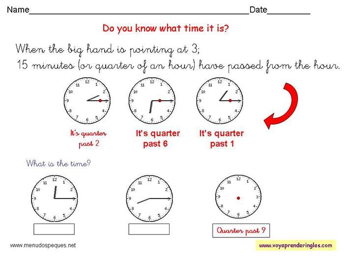 76820df2586a Worksheets The Clock 11 - Fichas Infantiles en Inglés el Reloj