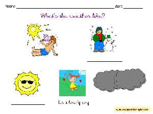 Worksheets Weather 01 - Fichas en Inglés el Clima