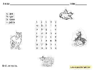 Worksheets Animals 01 - Fichas en Inglés los Animales