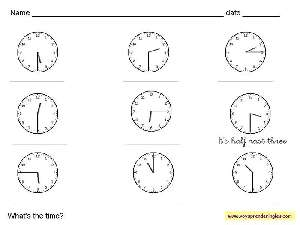 Worksheets The Clock 01 - Fichas Infantiles en Inglés el Reloj