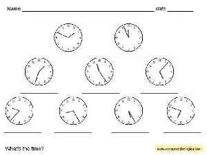 Worksheets The Clock 02 - Fichas Infantiles en Inglés el Reloj