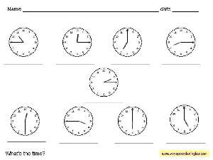 Worksheets The Clock 03 - Fichas Infantiles en Inglés el Reloj