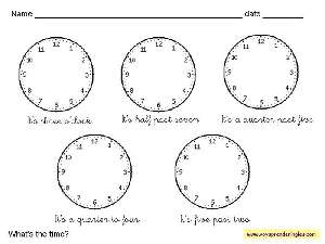 Worksheets The Clock 04 - Fichas Infantiles en Inglés el Reloj
