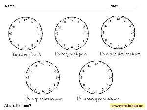 Worksheets The Clock 05 - Fichas Infantiles en Inglés el Reloj