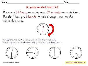 Worksheets The Clock 06 - Fichas Infantiles en Inglés el Reloj