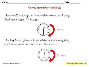 Worksheets The Clock 07 - Fichas Infantiles en Inglés el Reloj