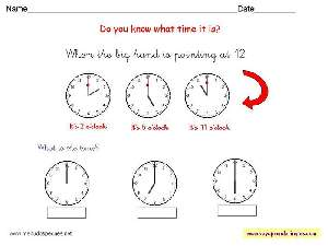 Worksheets The Clock 09 - Fichas Infantiles en Inglés el Reloj